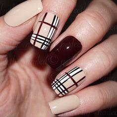 Check Print Nude and Burgandy/Wine Handpainted False Nails