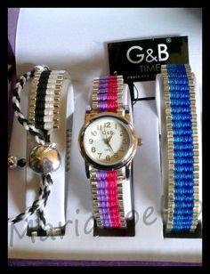 Conjunto G&B Time Relógio + 2 Braceletes Pulseira da Amizade