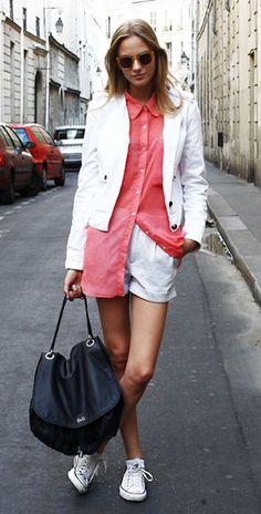 รองเท้า Converse All Star สีขาว แจ็คเก็ต Lanvin เสื้อเชิ้ต American Apparel Stina