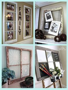 Ideas for Old Windows @ DIY Home Crafts Got the window Now what do I do with it?I have a ton of these old windows from when we put new windows in the house so excited to start my projects Diy Para A Casa, Diy Casa, Diy Projects To Try, Home Projects, Weekend Projects, Craft Projects, Diy Home Crafts, Diy Home Decor, Rustic Crafts