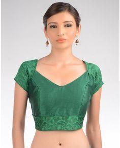 Leaf Green Blouse with Floral Design