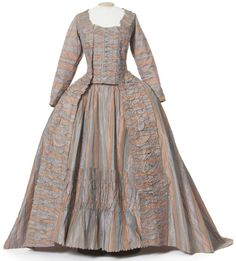 Robe a la francaise ca. 1780-85 (rare because of long sleeves) Love the use of stripes and color