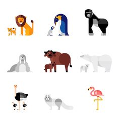 Illustration by Makers Company #animal #icon #iconic #lion #penguin #gorilla #bear #flamingo #zoo #illustration