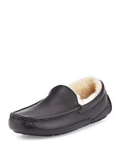 Ascot Leather Slipper, Black, Women's, Size: 43EU/10US - UGG Australia