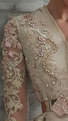 indian fashion Traditional -- CLICK VISIT link for more details Beaded Embroidery, Hand Embroidery, Embroidery Designs, Elegant Dresses, Beautiful Dresses, Tambour Beading, Arabic Dress, Fairytale Fashion, Moroccan Caftan