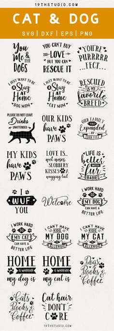 Pet SVG Bundle - Cat SVG - Dog SVG - SVG bundle Cut File For Commercial and Personal Use – STUDIO SVG files for Cricut, Silhouette Cameo and other cutting machines. SVG files perfect for t-shirt designs, mug designs, cup designs, personalize gift Plotter Silhouette Cameo, Silhouette Cameo Projects, Silhouette Design, Silhouette Cameo Files, Cat Silhouette, Silhouette Machine, Cricut Fonts, Svg Files For Cricut, Free Svg Cut Files