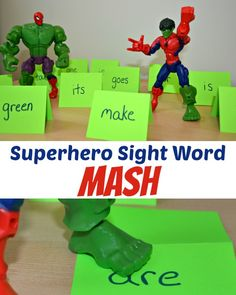 Practice sight words with Superheroes - play Superhero Sight Word Mash! (or letters, numbers,etc)  The kids would probably LOVE this!!