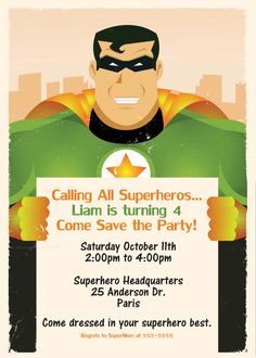 Items similar to Printable or Emailable Superhero Birthday Party Invitation on Etsy Superhero Birthday Party, Super Mom, Party Ideas, Printables, Invitations, Handmade Gifts, Etsy, Kid Craft Gifts, Print Templates