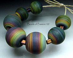 Earthy Rainbow Tie Dye Chunky Sphere Lampwork by BeadsofPassion