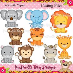 Zoo Animals, Felt Animals, Cute Baby Animals, Cute Clipart, Clipart Baby, Pretty Drawings, Paper Piecing Patterns, Blue Nose Friends, Digi Stamps