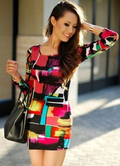 Multi Long Sleeve Geometric Print Bodycon Dress on Chiq  $19.99 http://www.chiq.com/multi-long-sleeve-geometric-print-bodycon-dress-0
