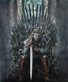 Eddard Stark from Game of Thrones in ink and paint on a canvas. Eddard Stark, Ned Stark, Game Of Thrones Poster, Game Of Thrones Facts, King On Throne, Iron Throne, Perfect Image, Perfect Photo, Love Photos