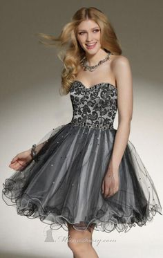 silver & gray shades, ruffled lace skirt with floral strapless top