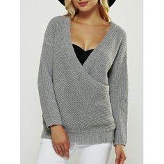 DressLily - Dresslily Plunging Neck Long Sleeve Fitting Wrap Sweater - AdoreWe.com