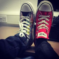 """Why not mix match?"" says @issyherring and her mismatched Cons. #showusyourconverse #bluebanana"