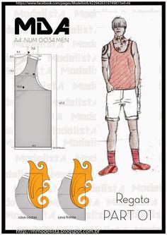 ModelistA: A4 -REGATA -g- domingo, 22 de fevereiro de 2015  A4 - NUM 0034 MEN Leves e frescas, as regatas são perfeitas para encarar as altas temperaturas! O estilo é ideal para situações bem específicas, como praia e na hora de malhar. Para o dia a dia uma boa opção é combiná-las com uma camisa social aberta ou até um blazer mais despojado. Para looks casuais combine com bermuda, tênis ou sapatênis e até sandálias para aproveitar o clima de verão.