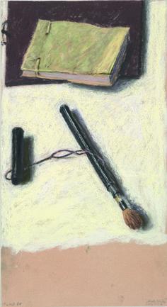 Avigdor Arikha ( Romanian-born French-Israeli, 1928 - 2010) Paintbrush and Sketchbooks, 1988, pastel on paper