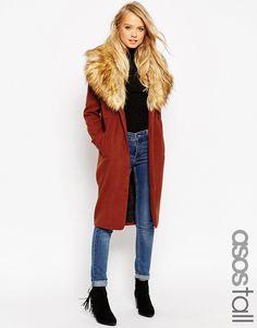 Bild 1 von ASOS TALL – Mantel mit übergroßem Kunstfellkragen