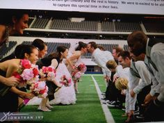 This would be great if your wedding happens to be by a football stadium. Unless they have a super sweet backdrop! lol