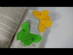 How to make a paper butterfly bookmark - Origami Origami Diy, Origami And Kirigami, Origami Butterfly, Oragami, Paper Bookmarks, Corner Bookmarks, Envelopes, Origami Videos, Diy And Crafts