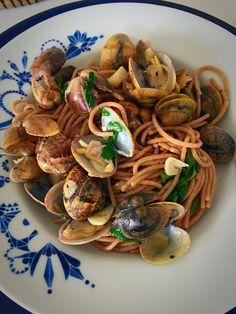 Volkoren pasta met venusschelpjes