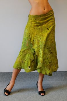 Green free size cobweb felted skirt Grass caress by doseth on Etsy