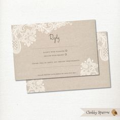 Wedding Invitation Lace Linen Rsvp Reply Card By Chubbysparrow