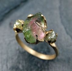 Raw Watermelon Tourmaline Diamond Gold Engagement Ring Wedding Ring Custom One Of a Kind Gemstone Ring Bespoke Three stone Ring byAngeline by byAngeline on Etsy www.etsy.com/...