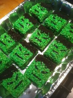 Incredible Hulk rice krispie treats. All you need is butter, marshmellows, rice krispies, green gel food coloring and some crushed Oreo coo...