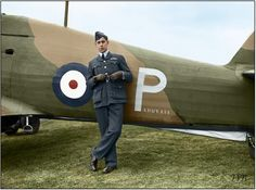 "New Zealand Flying Officer Edgar James 'Cobber' Kain of No. 73 Squadron RAF, standing by his Hawker Hurricane Mark I ""Paddy III"" (P/L1766) at Rouvres, shortly after becoming the first Allied air 'ace' of the Second World War. November 1939  Kain scored his fourth and fifth victories on 26 March 1940, before being wounded and forced to bail out. The 21-year-old pilot was killed in a flying accident while doing acrobatics over Échemines airfield on 7 June 1940."