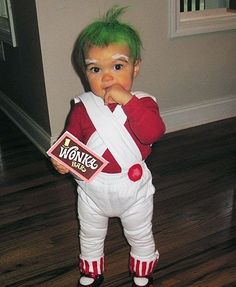 Willy Wonka and the Chocolate Factory - Oompa Loompa Costume.  Give this kid a golden ticket.  Too Cute!