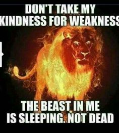 Don't Take My Kindness For Weakness. The Beast In Me Is Sleeping Not Dead
