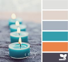 Love the orange, teal and slate grey together!