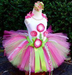 Strawberry Lime Triple Posie Birthday Tutu Outfit....Sewn Tutu, Curly Ribbons...Tutu, Top &  Bow...Strawberry Shortcake Inspired on Etsy,