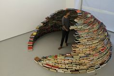 'Book Igloo.' Made entirely from a collection of books sourced from a defunct US Navy base library.