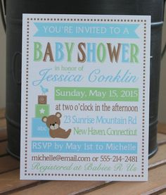 Green teddy bear blocks baby shower invitations bear baby shower green teddy bear blocks baby shower invitations bear baby shower invitations pinterest bear baby showers shower invitations and teddy bear filmwisefo