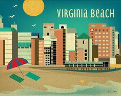 Virginia Beach, Virginia Horizontal 8 x 10 Skyline Art Poster Print - Destination Art for Home, Office, and Nursery - BRAND NEW - E8-O-VA by loosepetals on Etsy