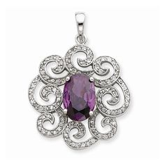 Sterling Silver Purple & Clear CZ Pendant – Goldia.com