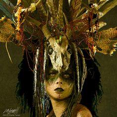 Burning Man Headdress and Face Paint - Shaman [charlieterrell] Voodoo Costume, Voodoo Halloween, Halloween Makeup, Halloween Fun, Voodoo Priestess Costume, Witch Doctor Costume, Witch Costumes, Larp, Voodoo Makeup