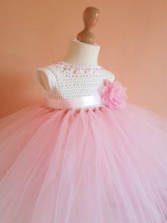 pink tutu dress, crochet dress,toddler dress,princes dress, birthday dress, pink dress,crochet yoke, bridesmaid dress, baptism dress by byAnastassia on Etsy