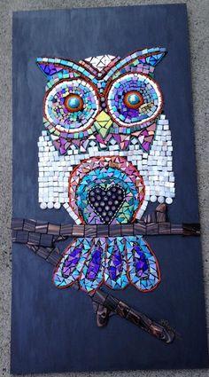 Bilderesultat for mosaikk owl Owl Mosaic, Mosaic Birds, Mosaic Art, Mosaic Glass, Butterfly Mosaic, Mosaic Crafts, Mosaic Projects, Stained Glass Projects, Stained Glass Art