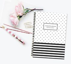 Personalized Notebook  Stripes and Spots  by LetterLoveDesigns