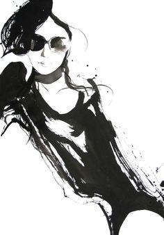 ★ Fashion illustration - stylish black and white fashion drawing // Yasunari Awazu ★ Illustration Techniques, Fashion Illustration Sketches, Woman Illustration, Fashion Sketches, Digital Illustration, Mode Collage, Belle Photo, Fashion Art, White Fashion