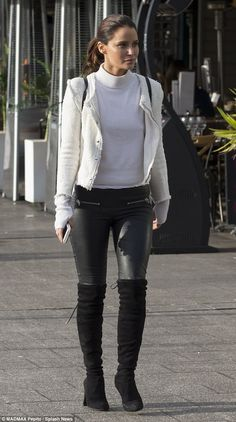 Looking good! Jodi Anasta (née Gordon) put on a stylish display  in a pair of knee-high boots and tight leather trousers as she joined friends and colleagues for lunch in Sydney on Saturday
