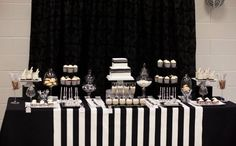 New Music Theme Birthday Party Dessert Tables Ideas Black And White Party Decorations, Black And White Wedding Theme, Black White Parties, Black And White Theme, White Decor, White Dessert Tables, Black Dessert, White Desserts, White Buffet