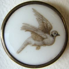 majolica button in brass with dove design. Cool Buttons, Vintage Buttons, Button Art, Button Crafts, Button Picture, China Art, Sewing A Button, Pet Birds, Antiques