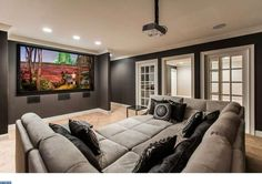 Minimalist Home Theater Design Ideas. Home theater design, having a home theater in the home is certainly a thing desired by those who like to watch movies. The intimate and exciting atmos. Salas Home Theater, Home Theater Decor, At Home Movie Theater, Home Theater Rooms, Home Theater Seating, Home Theater Design, Home Decor, Theater Seats, U Couch
