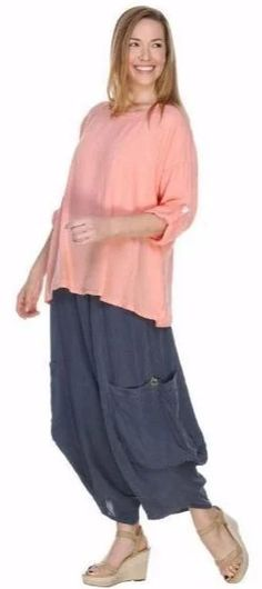 Match Point Linen Big Side Pockets with Button Pants Lagenlook – Lori's Lovelies Womens Linen Clothing, Match Point, Elastic Waist Pants, Harem Pants, Tunic Tops, Pockets, How To Wear, Button, Big