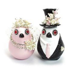 Love Birds Wedding Cake Topper with Pink Heart Base Set B00017