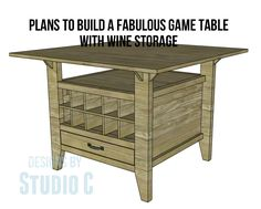 Build a Fabulous Game Table with Wine Storage – Tables and desk ideas Board Game Storage, Board Game Table, Table Games, Game Tables, Board Games, Compact Furniture, Affordable Furniture, Diy Storage Table, Dvd Storage